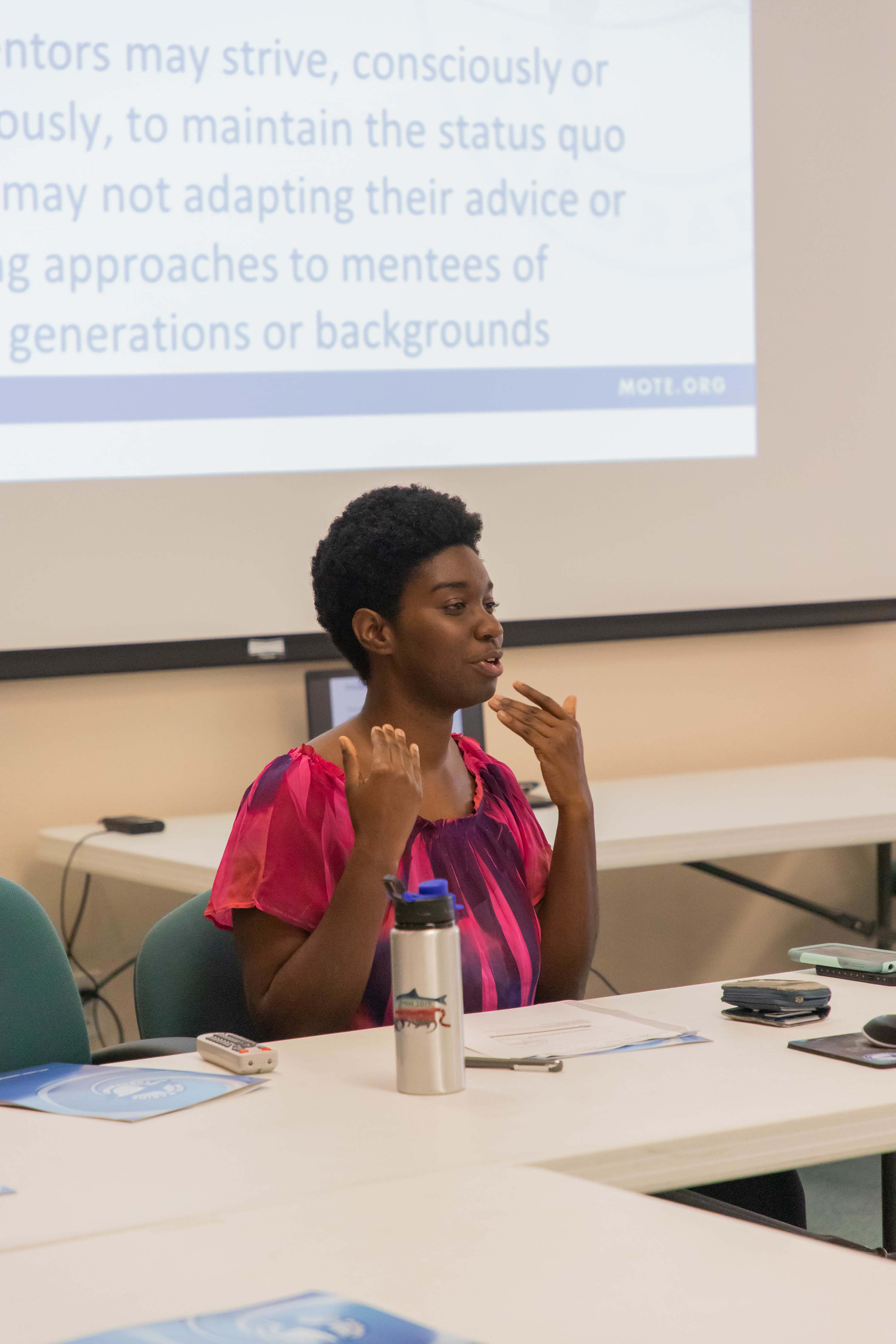 MarSci-LACE Grant Project Coordinator Jasmin Graham presents a seminar to Mote staff on the topic of mentoring. Photo Credit - © Mote Marine Laboratory