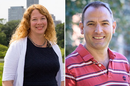 Image of Kristine Schad, Director of AZA's Population Management Center (left), and David Powell, Director of AZA's Reproduction Management Center (right)