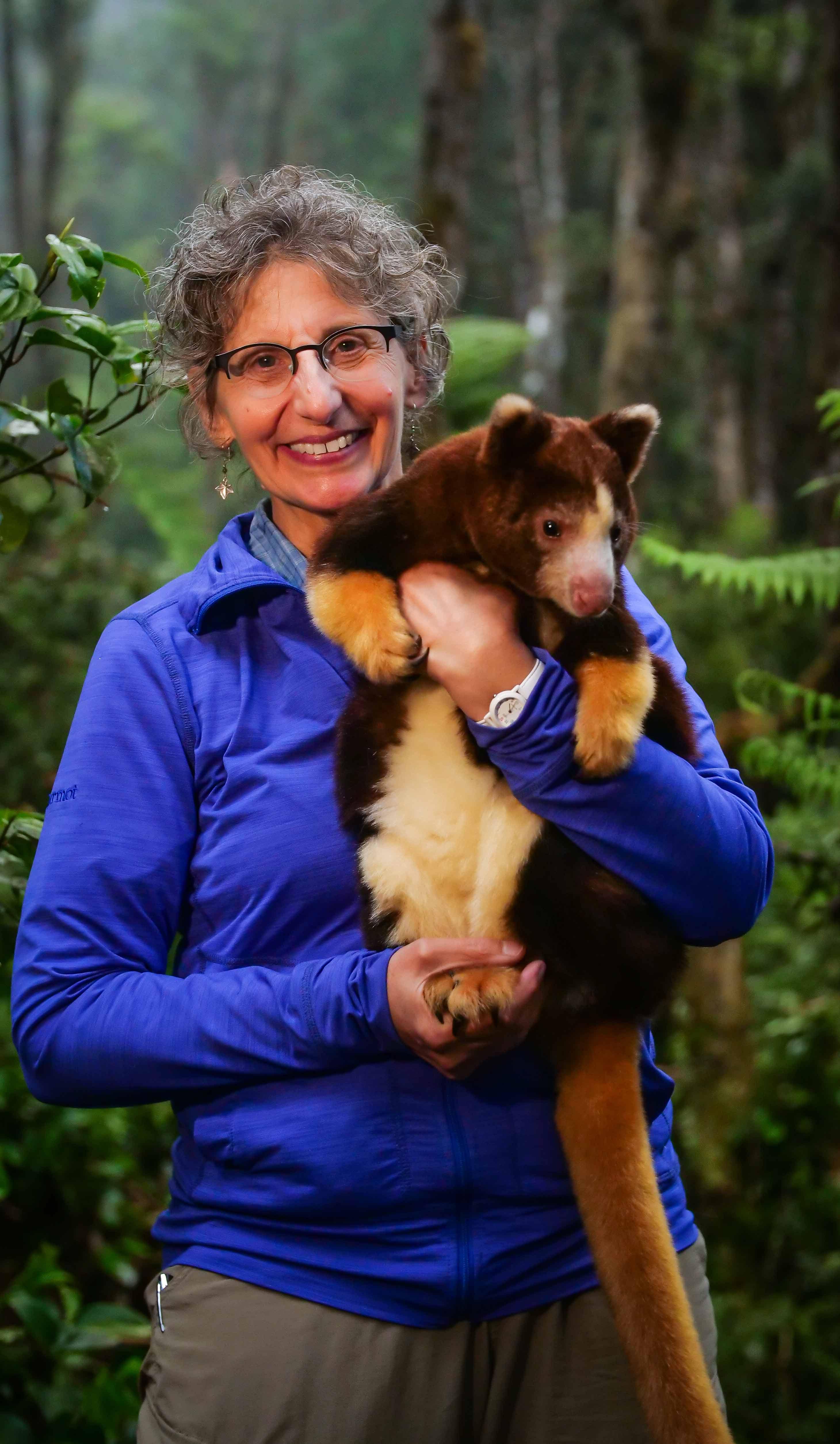 Dr. Lisa Dabek with a tree kangaroo