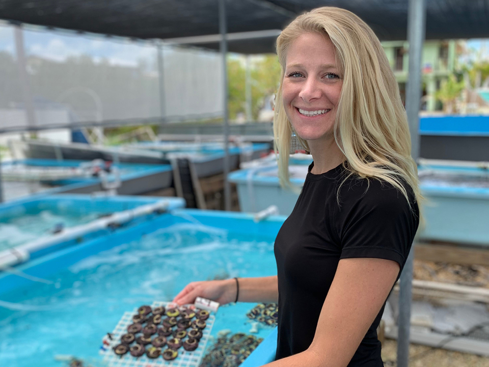 Woman in a coral nursery holding a group of coral