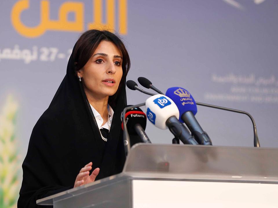 Ms. Al Mubarak addressing the Arabic language media during the World Future Energy Summit.