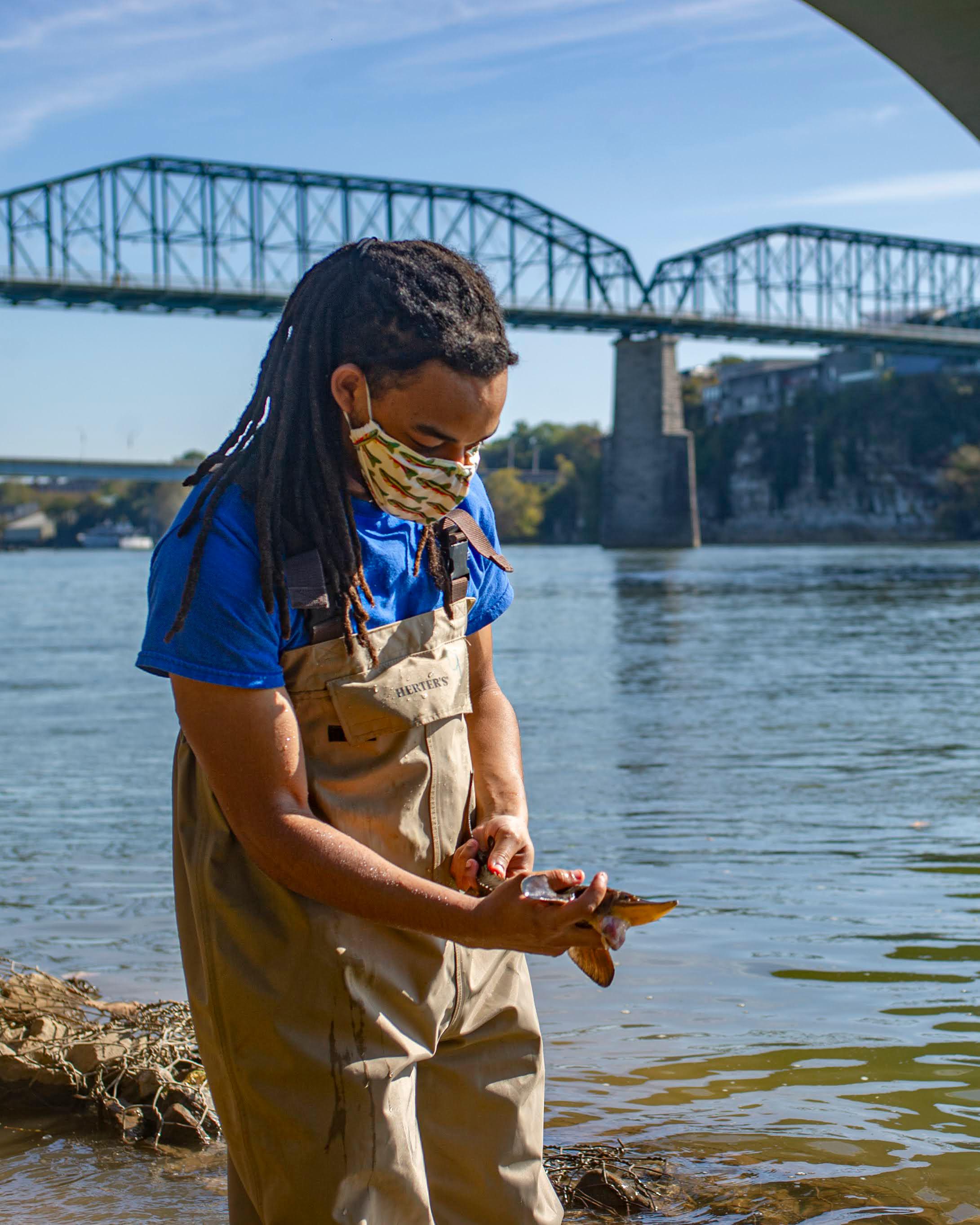 A Tennessee Aquarium employee holding a sturgeon