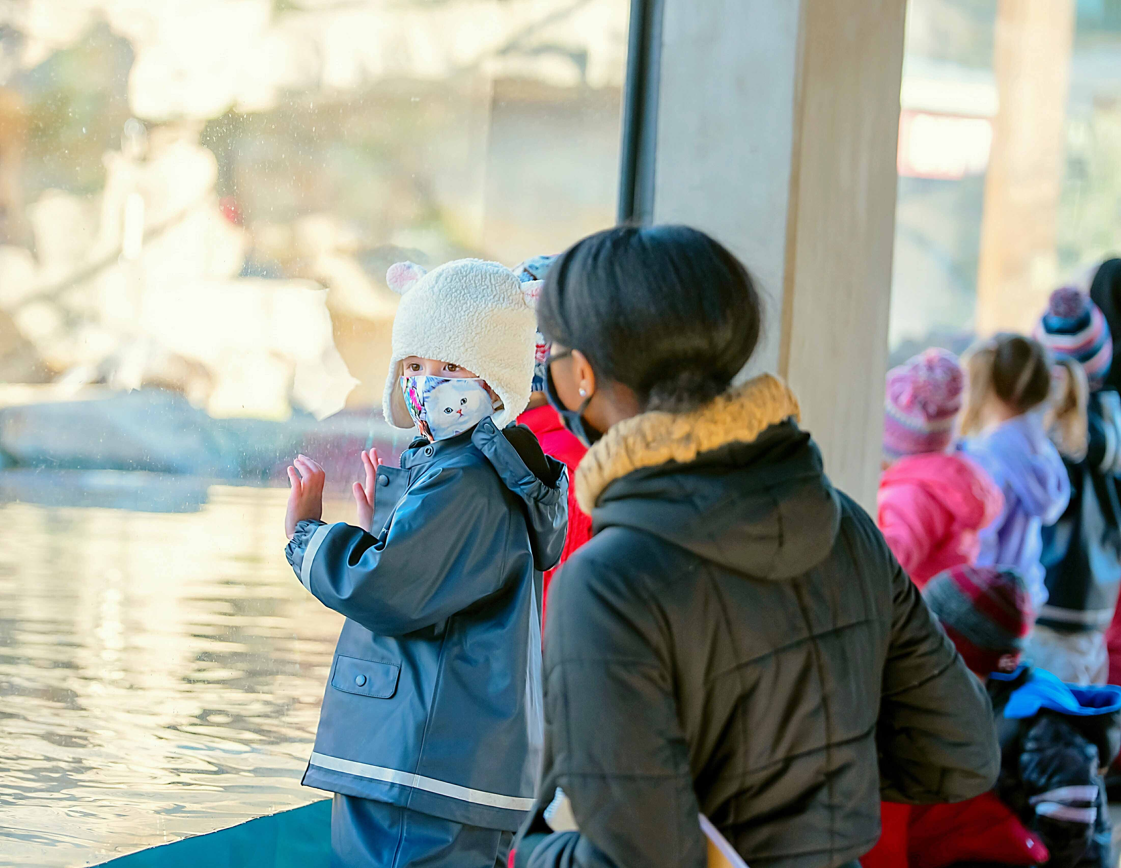 An adult and child look into an exhibit at Riverbanks Zoo and Garden