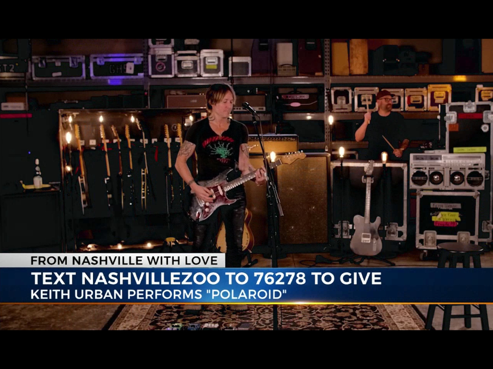Screenshot of Keith Urban performing for Nashville Zoo's concert fundraiser