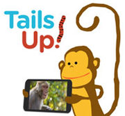 Image of Tails Up App logo and cartoon monkey