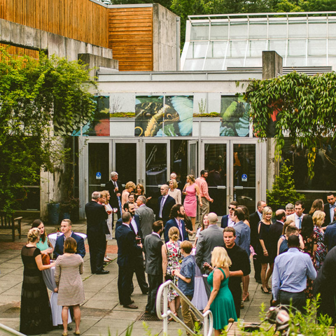 a group event outside the butterfly house