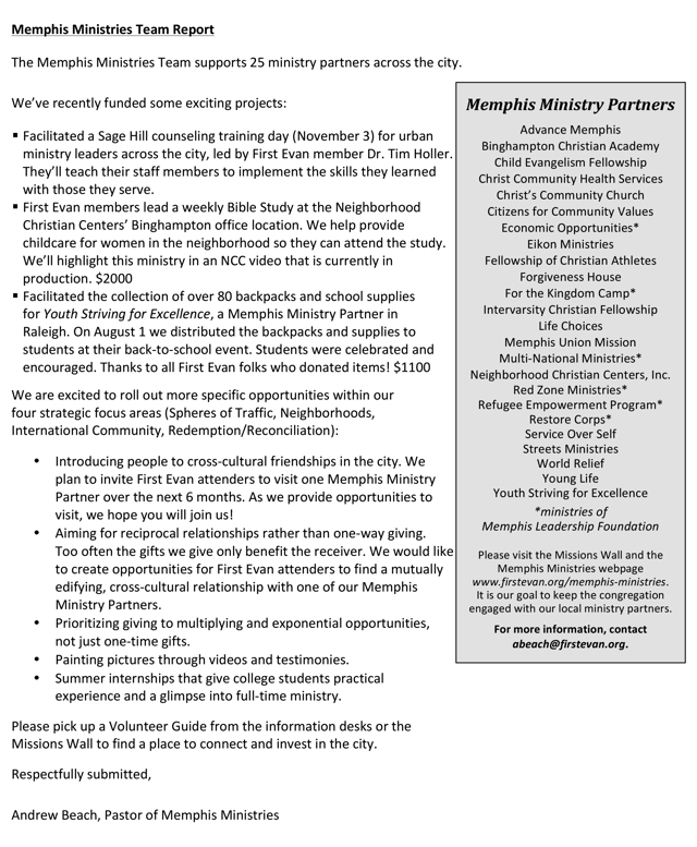 Church Mission Board Report – Board Report