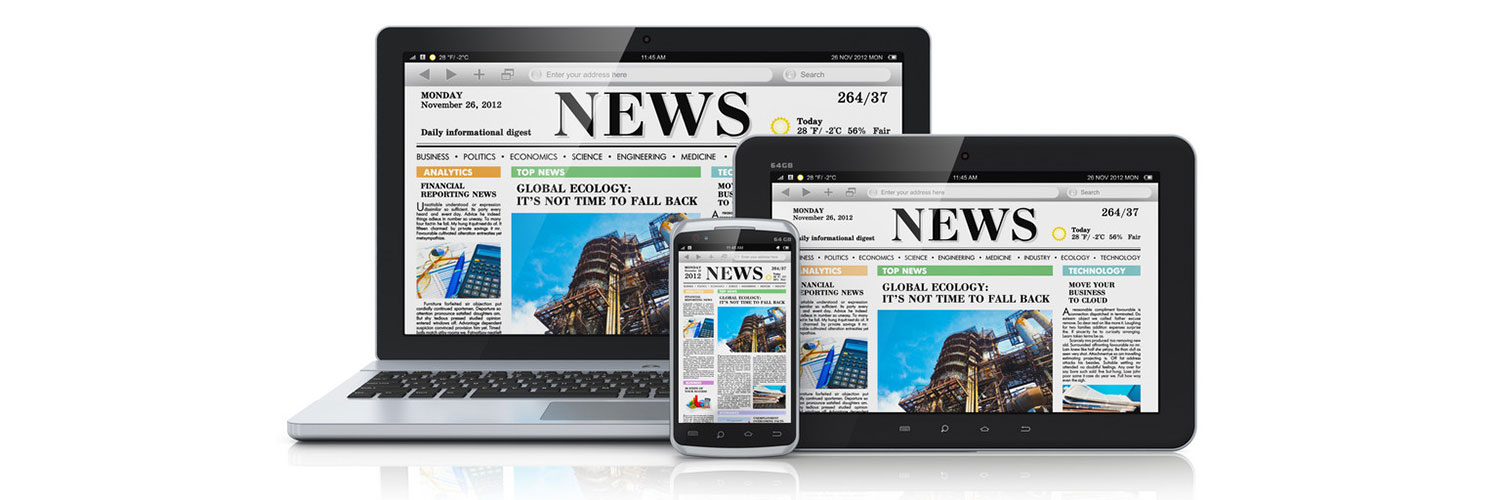 Image of a computer, ipad, and iphone all with the same newspaper on the screen.