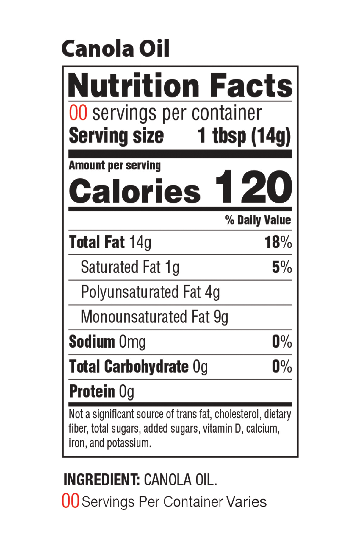 Canola Nutrition Facts