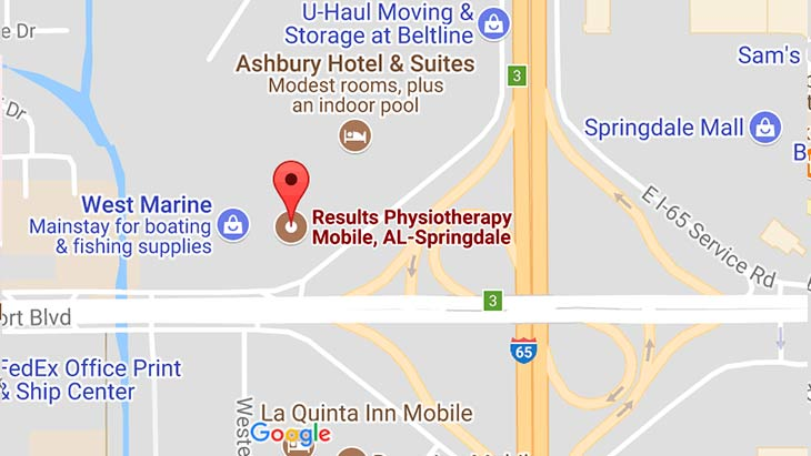 Map - Results Physiotherapy Mobile, Alabama