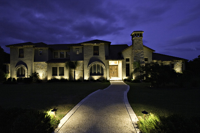 House at Night with Security Lighting
