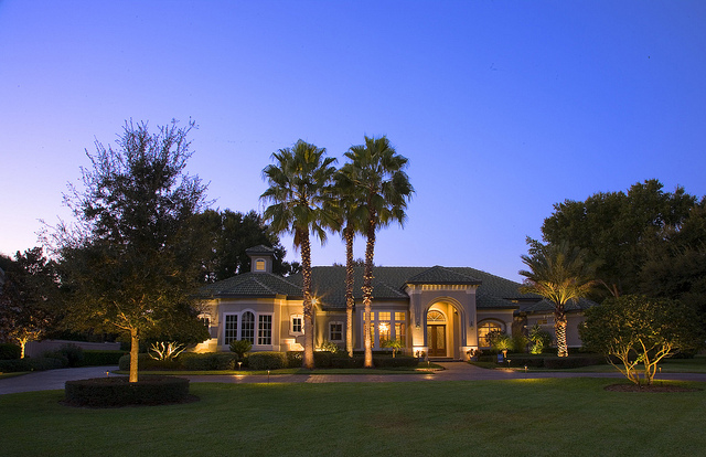 House at Night with Landscape Lighting
