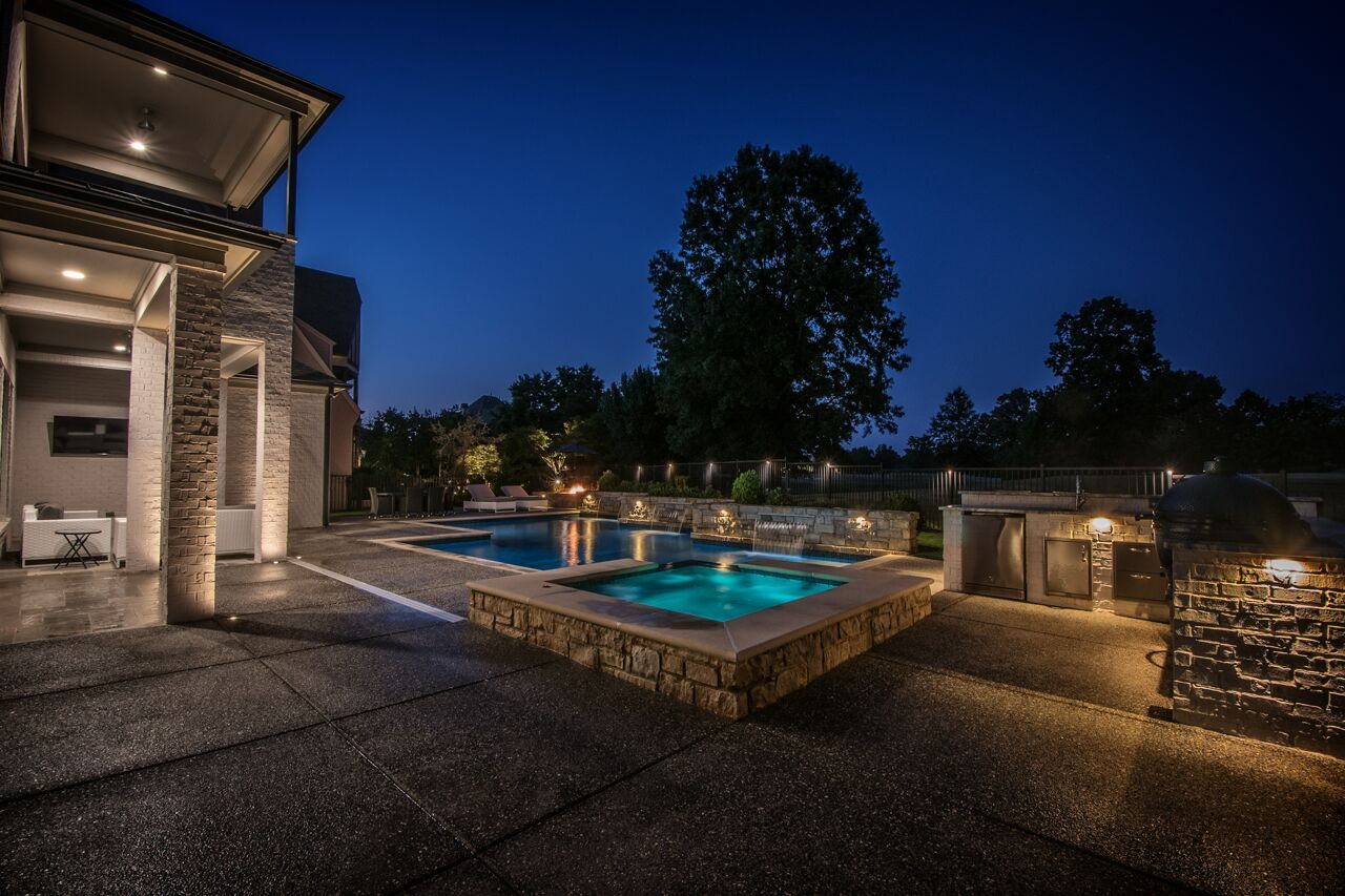 Pool and Outdoor Patio at Night