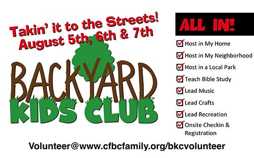 Backyard Kids Club Volunteer