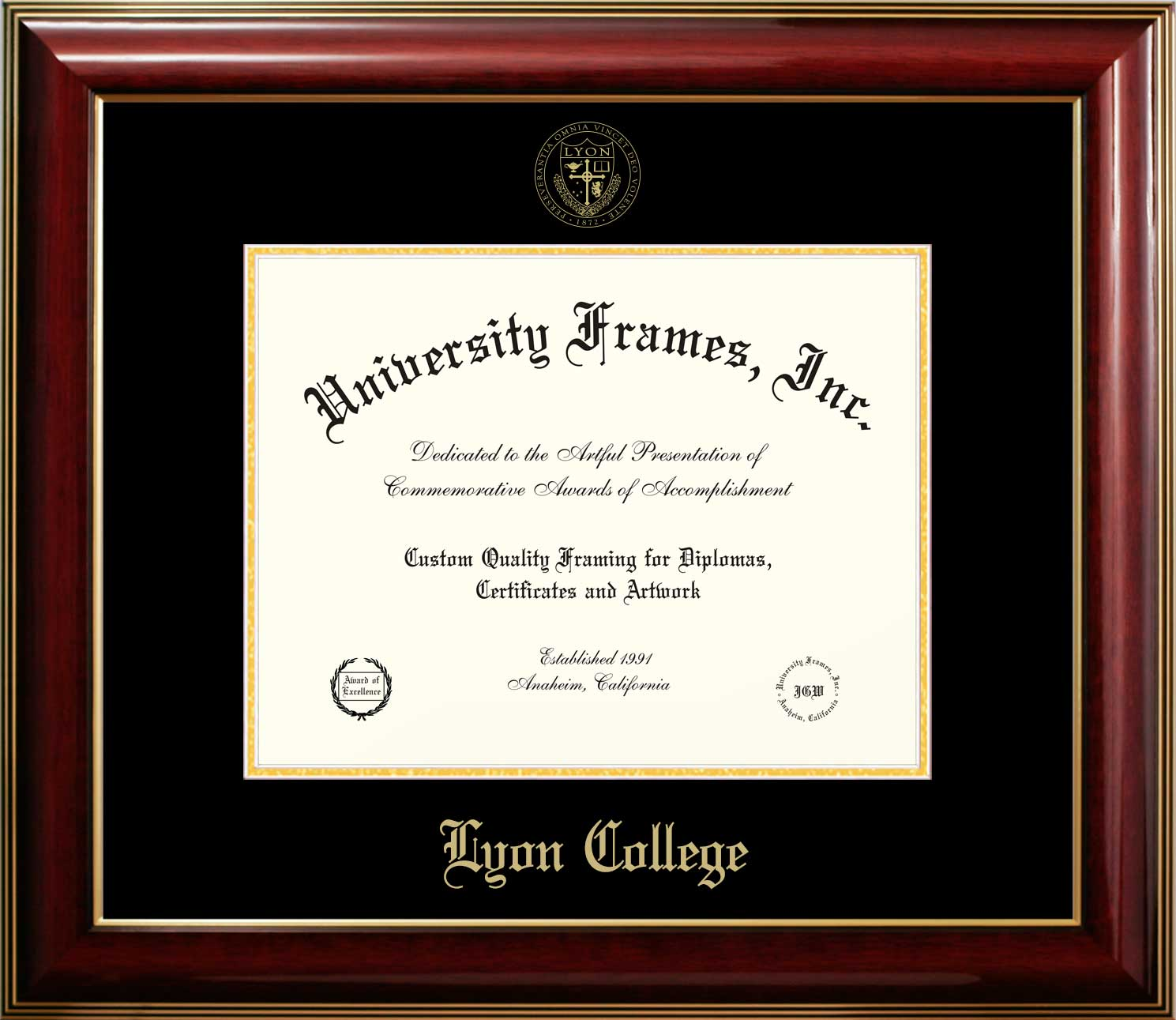 Scot Shop   Lyon College: Classic Diploma Frame - Mahogany