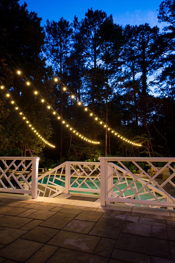 outdoor string lighting in backyard