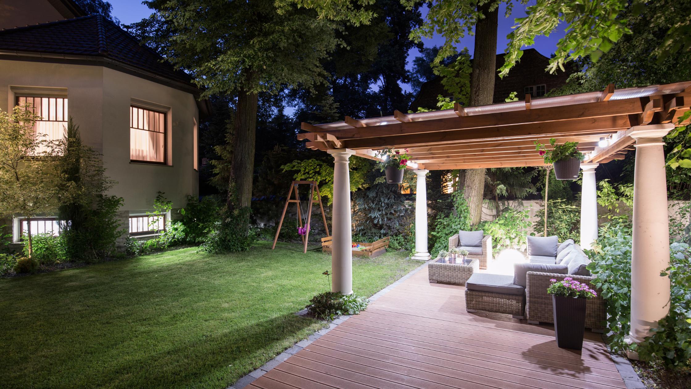 low deck in backyard