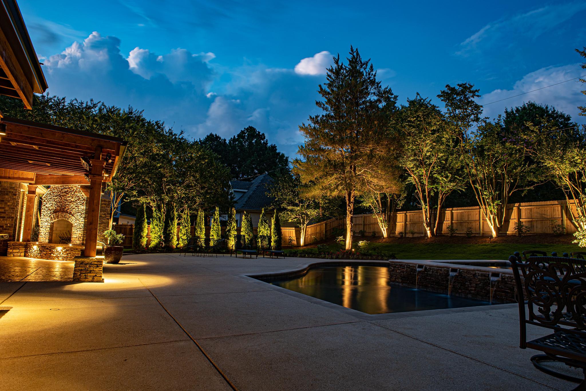 Landscape Lighting Around Pool in Memphis, TN