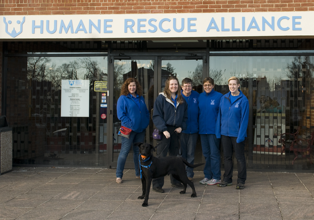 Behavior and Training staff pose with Bongo outside the Humane Rescue Alliance