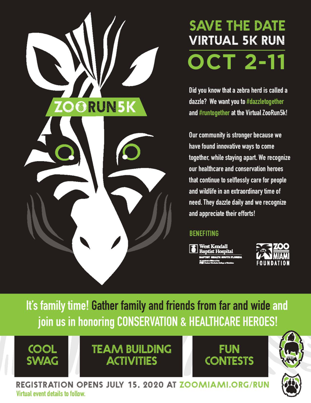 Save the Date for Virtual Zoo Run on October 2 - 11, 2020 with Zebra logo