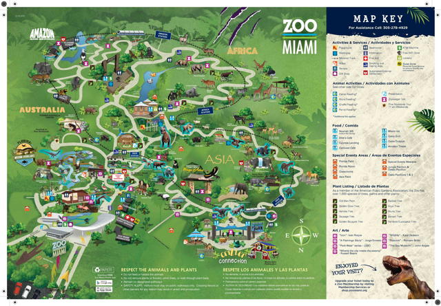 Map of Zoo Miami showing dinosaurs locations