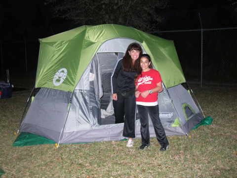 mother and daughter camping at Zoo Miami Overnight Camping Adventure