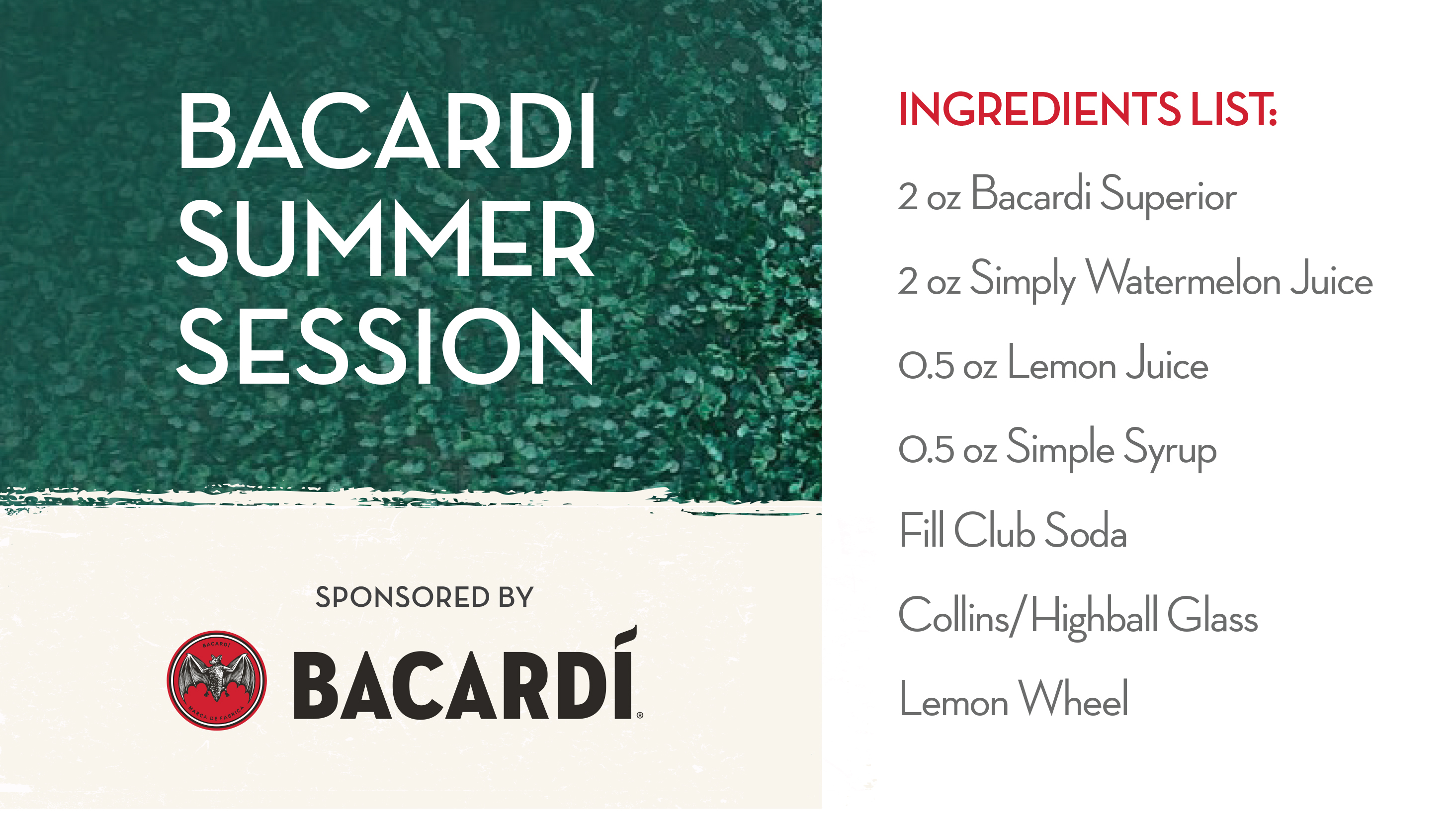 List of ingredients for Bacardi Summer Session cocktail