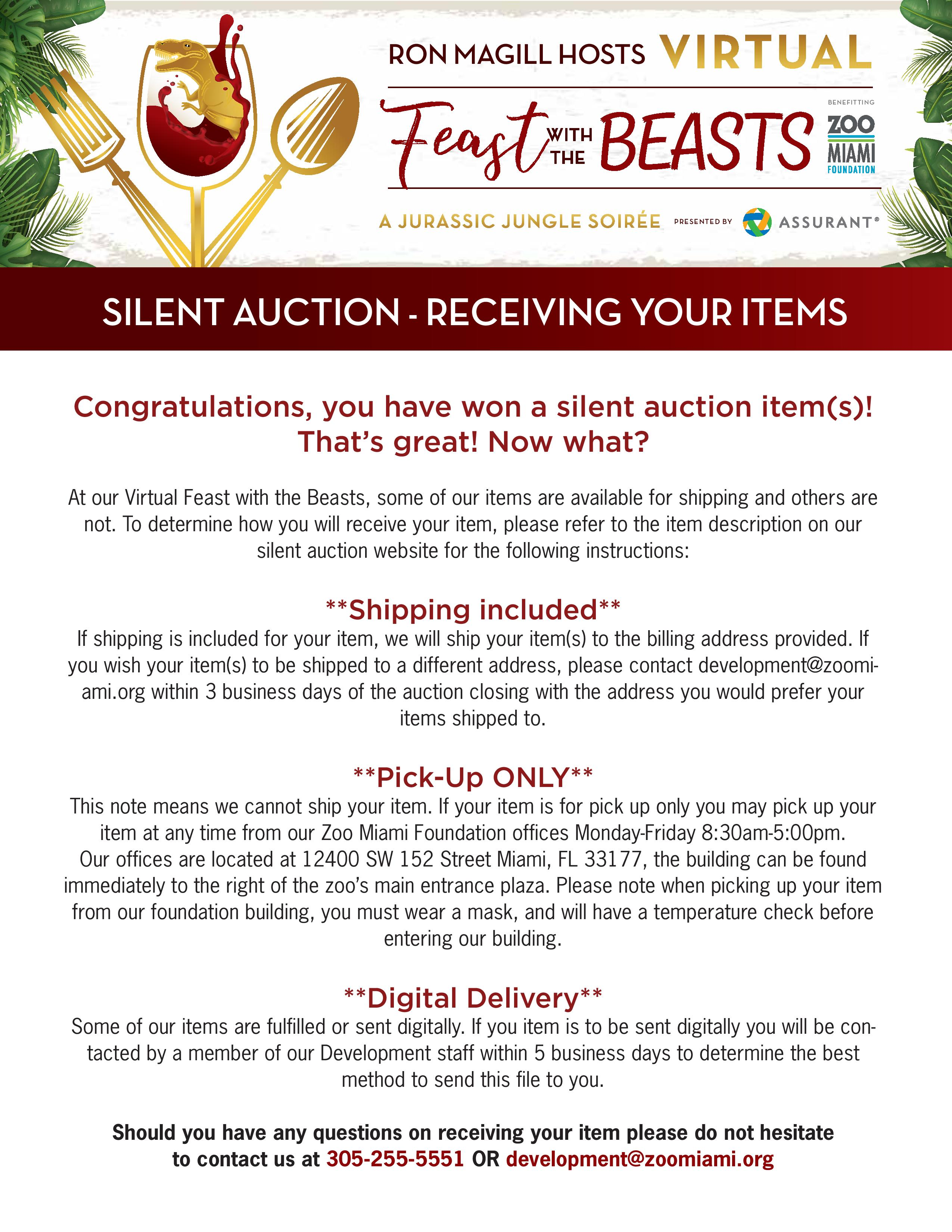 Silent Auction - Receiving Your Items