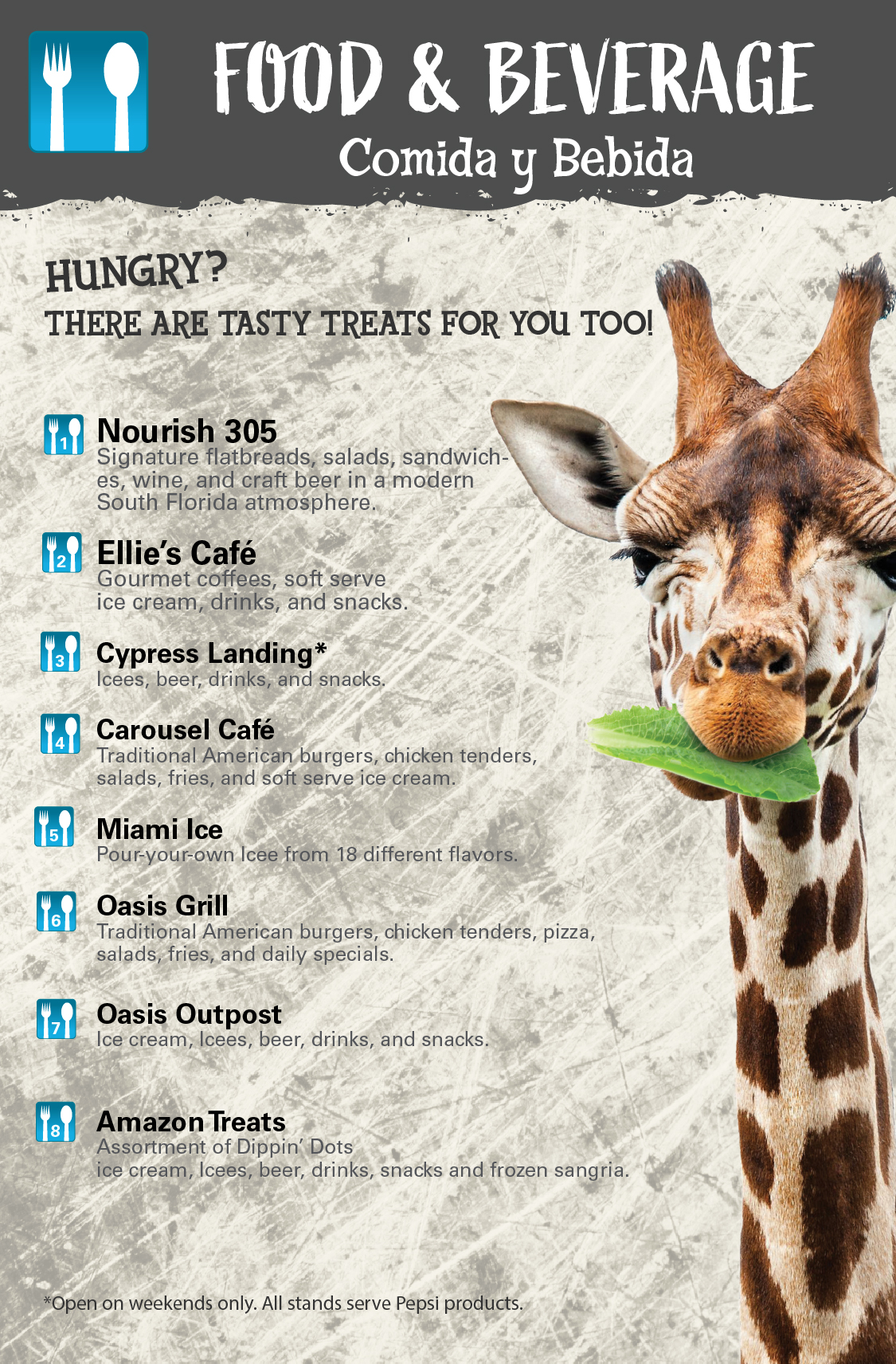 Food & Beverage - Nourish 305, Ellie's Cafe, Cypress Landing, Carousel Cafe, Miami Ice, Oasis Grille, and Oasis Outpost