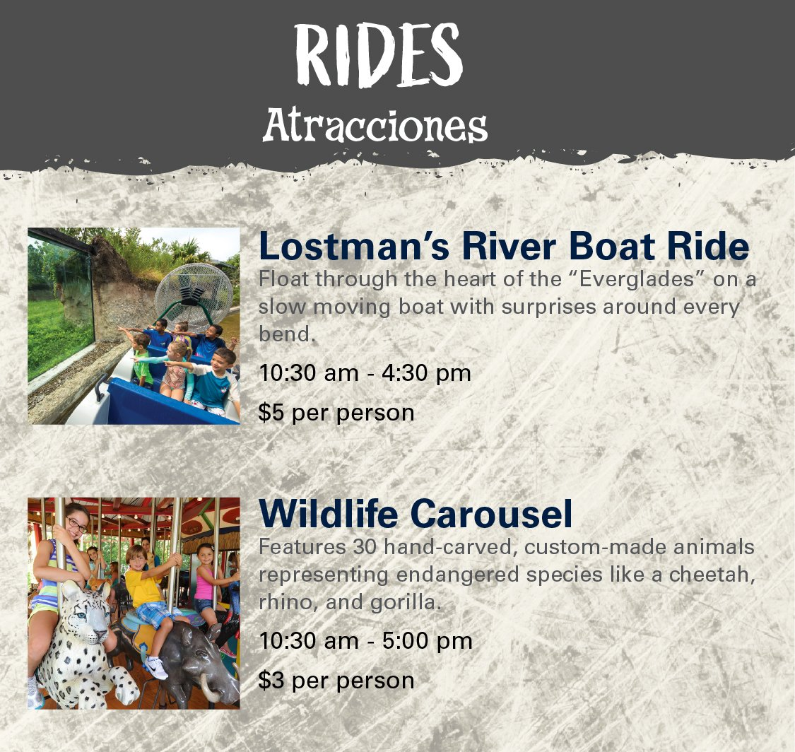 Rides - Lostman's River Boat Ride and Wildlife Carousel.
