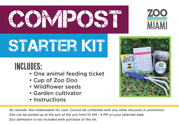 Compost Starter Kit Includes: One packet of Zoo Doo, Packet of wildflower seeds, Garden cultivator, and Compost Starting Instructions.