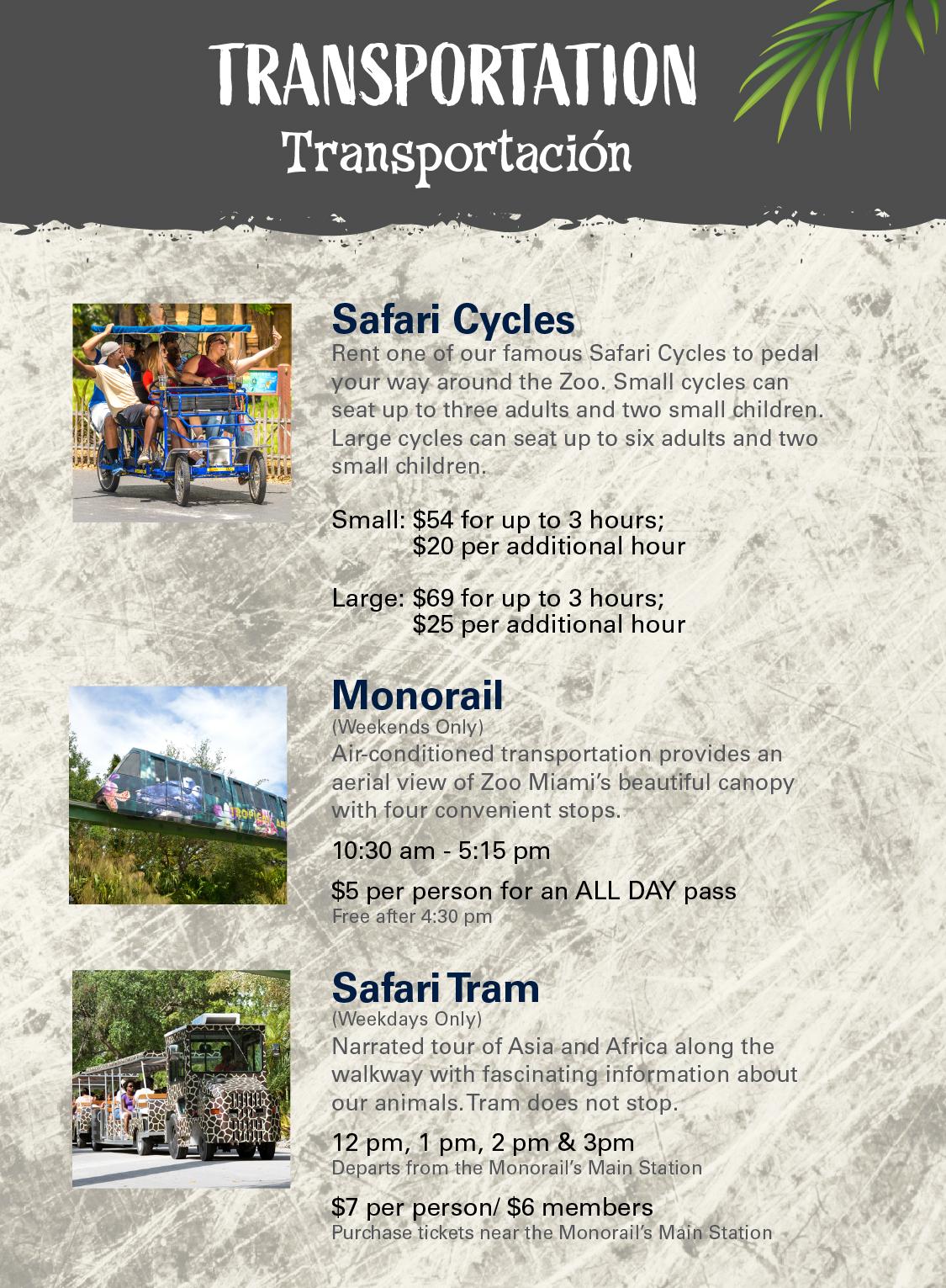 Transportation - Safari Cycles, Safari Tram & Monorail Images