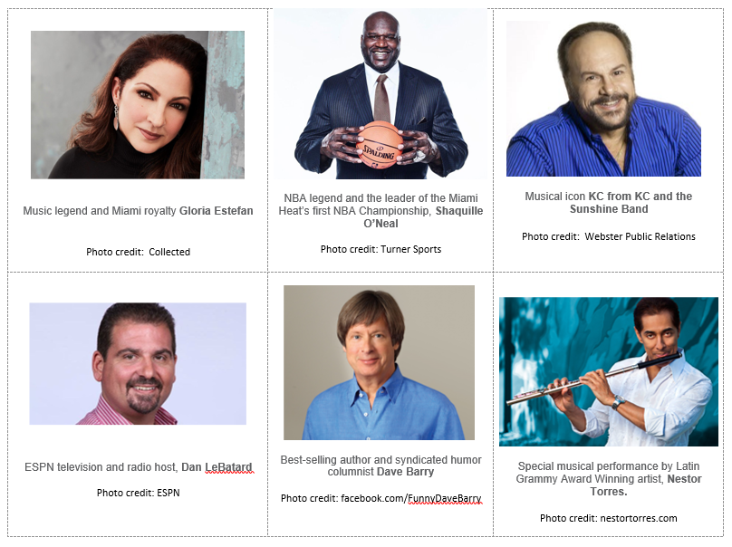 Celebrity photos - Gloria Estefan, Shaquille O'Neal, KC from KC and the Sunshine Band,Dan LeBatard, Dave Barry, and Nestor Torres.