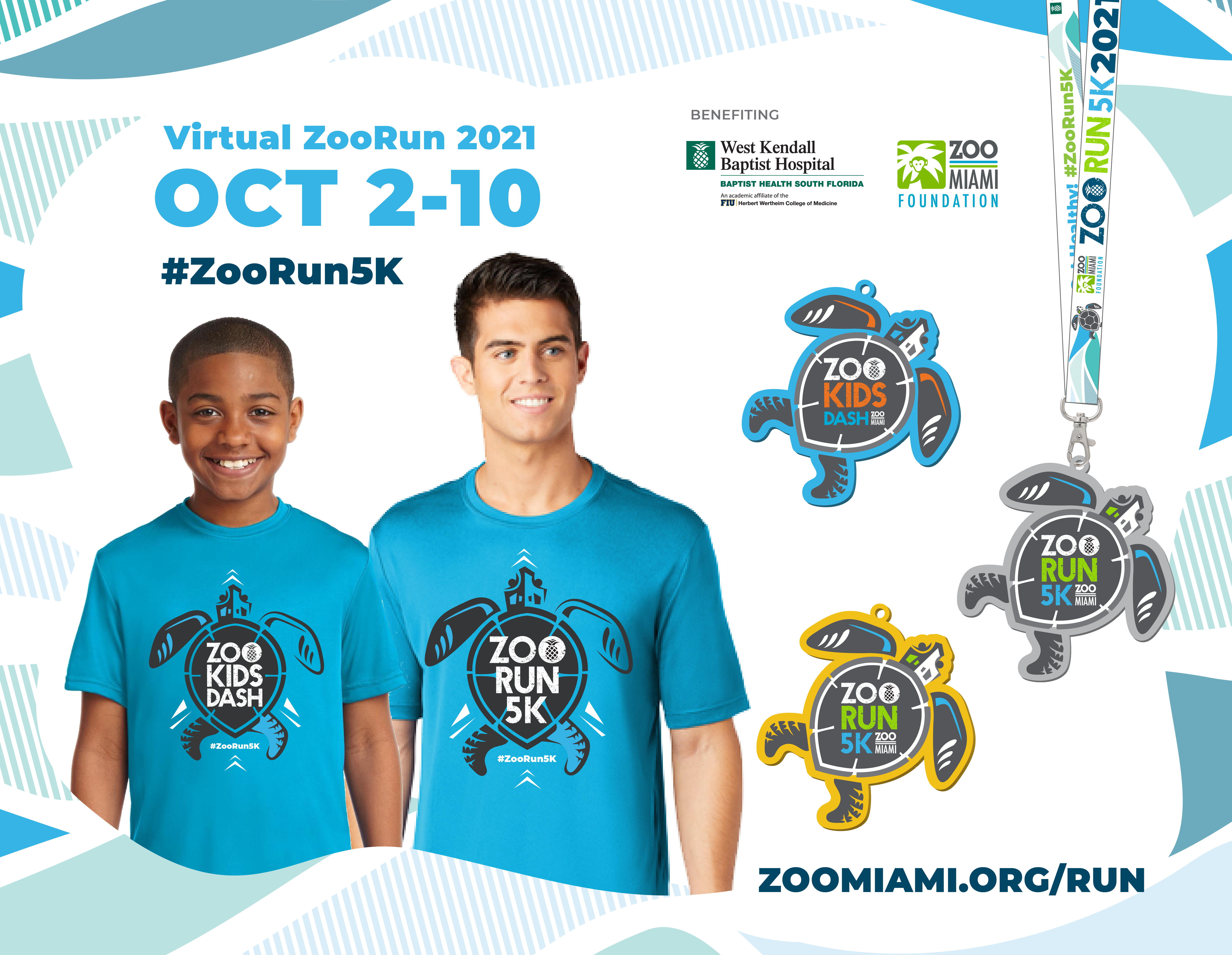 Save the Date for Virtual Zoo Run on October 2 - 10, 2021 with Sea Turtle logo