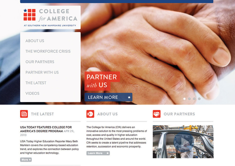 College for America Website Home