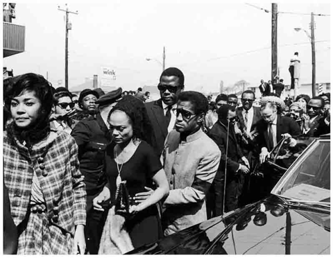 Singer Nancy Wilson, actress Eartha Kitt, musician/dancer/actor Sammy Davis Jr., actor Sidney Poitier, Berry Gordy Jr. (Motwon Label founder) and actor Marlon Brando going to Martin Luther King's Funeral.