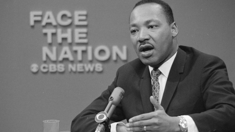 "Rev. Dr. Martin Luther King Jr. appeared on the television news program Face The Nation on April 16, 1967, to discuss his opposition to the war in Vietnam. As ""one greatly concerned about the need for peace in our world and the survival of mankind, I must continue to take a stand on this issue,"" he said. (Photo by CBS Photo Archive/Getty Images)"