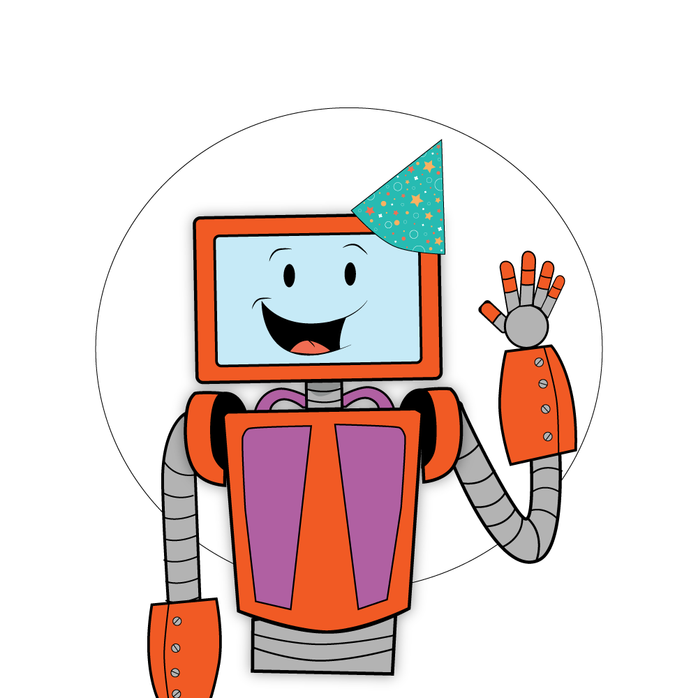 Baxter The Robot with Birthday Hat