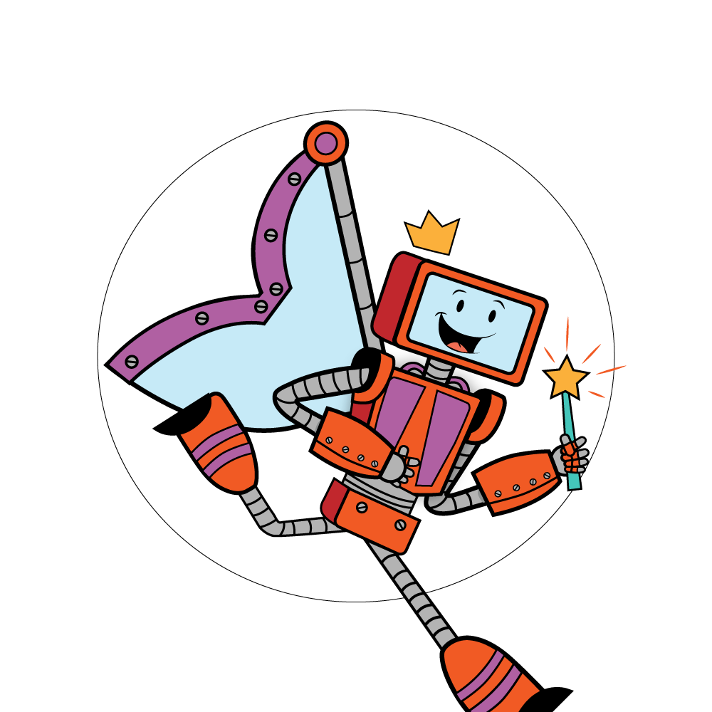 Baxter the Robot with fairy wings and wand