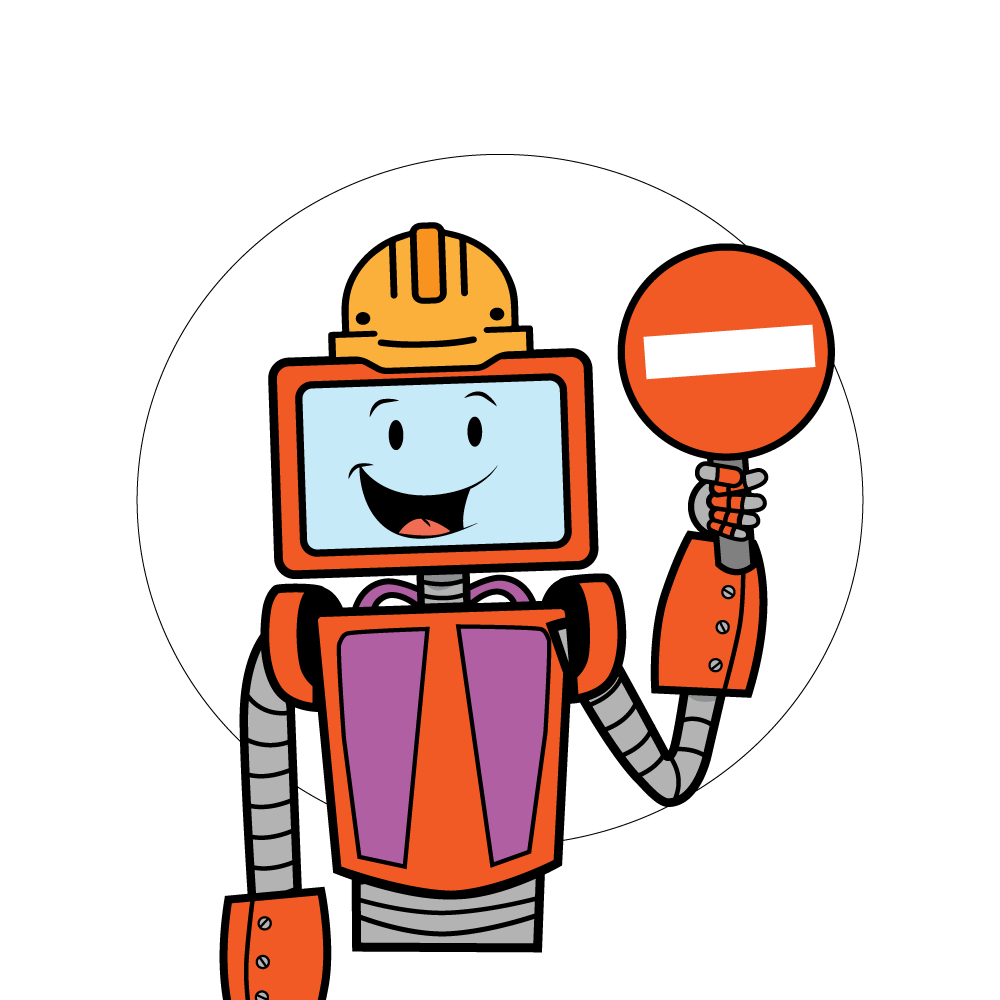 Baxter The Robot with a holding a closed sign