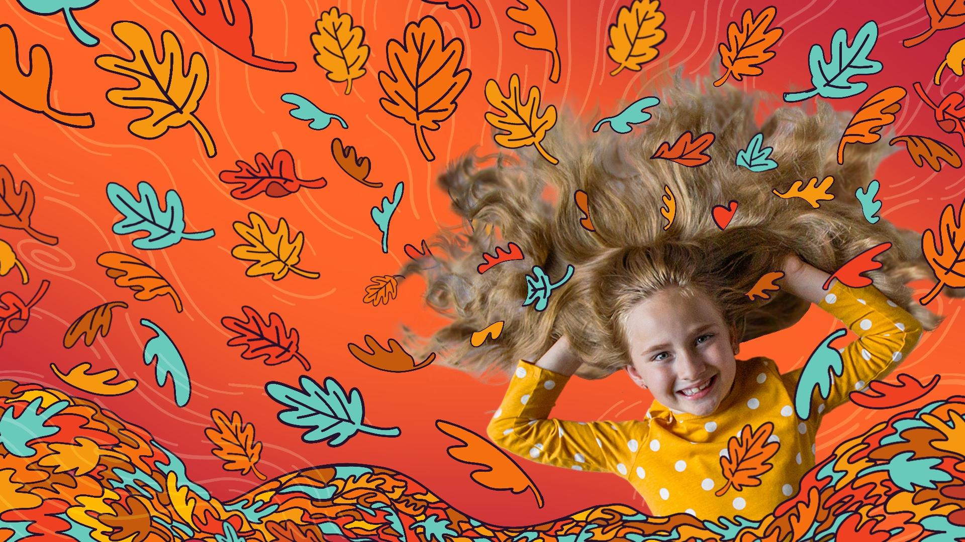 girl in leaves
