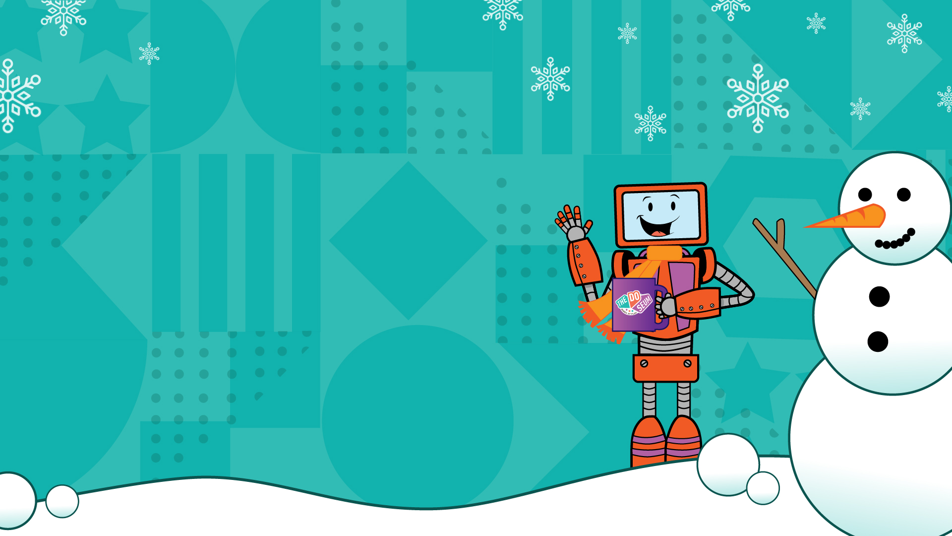 Baxter the robot holding coffee next to a snowman