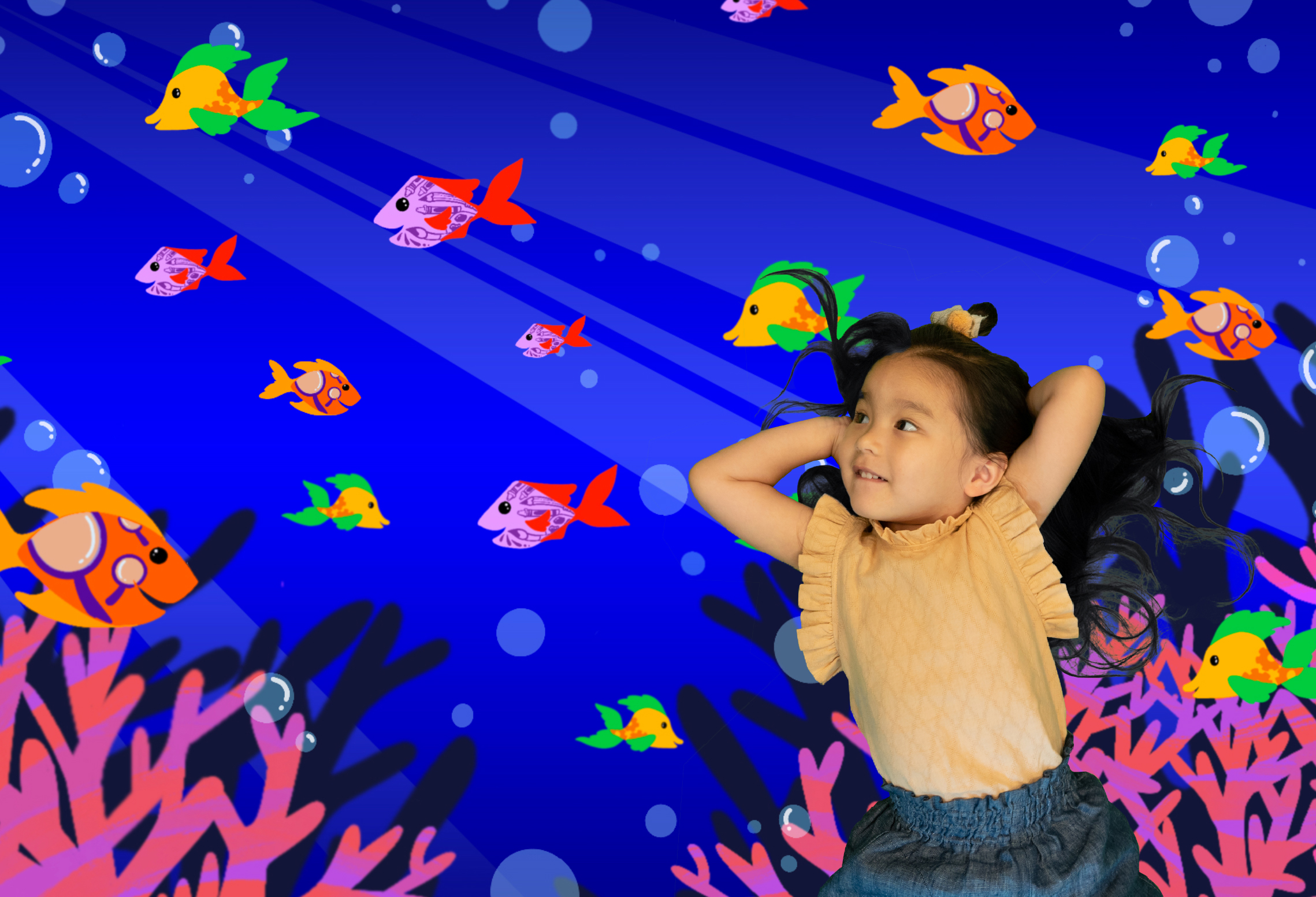 Girl laying underwater with illustrated fist and coral surrounding her