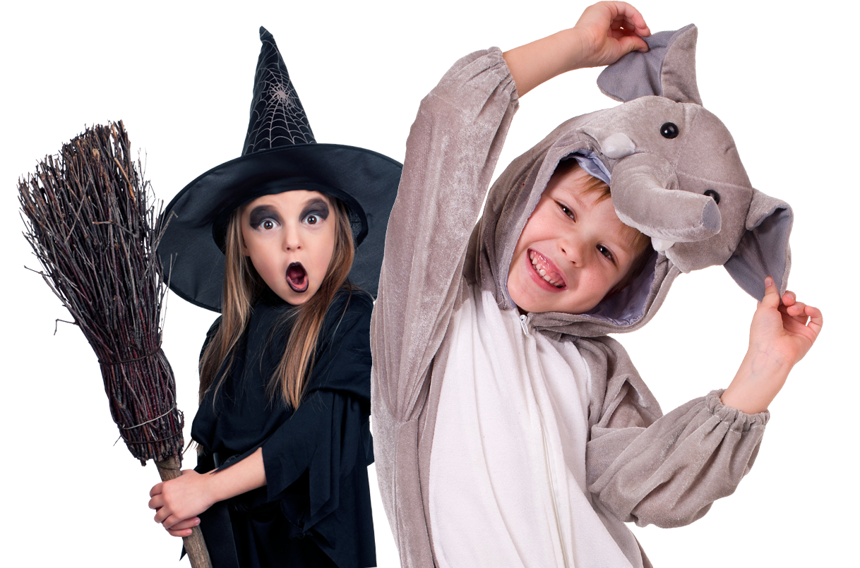 Zoo boo kids in elephant and witch costumes