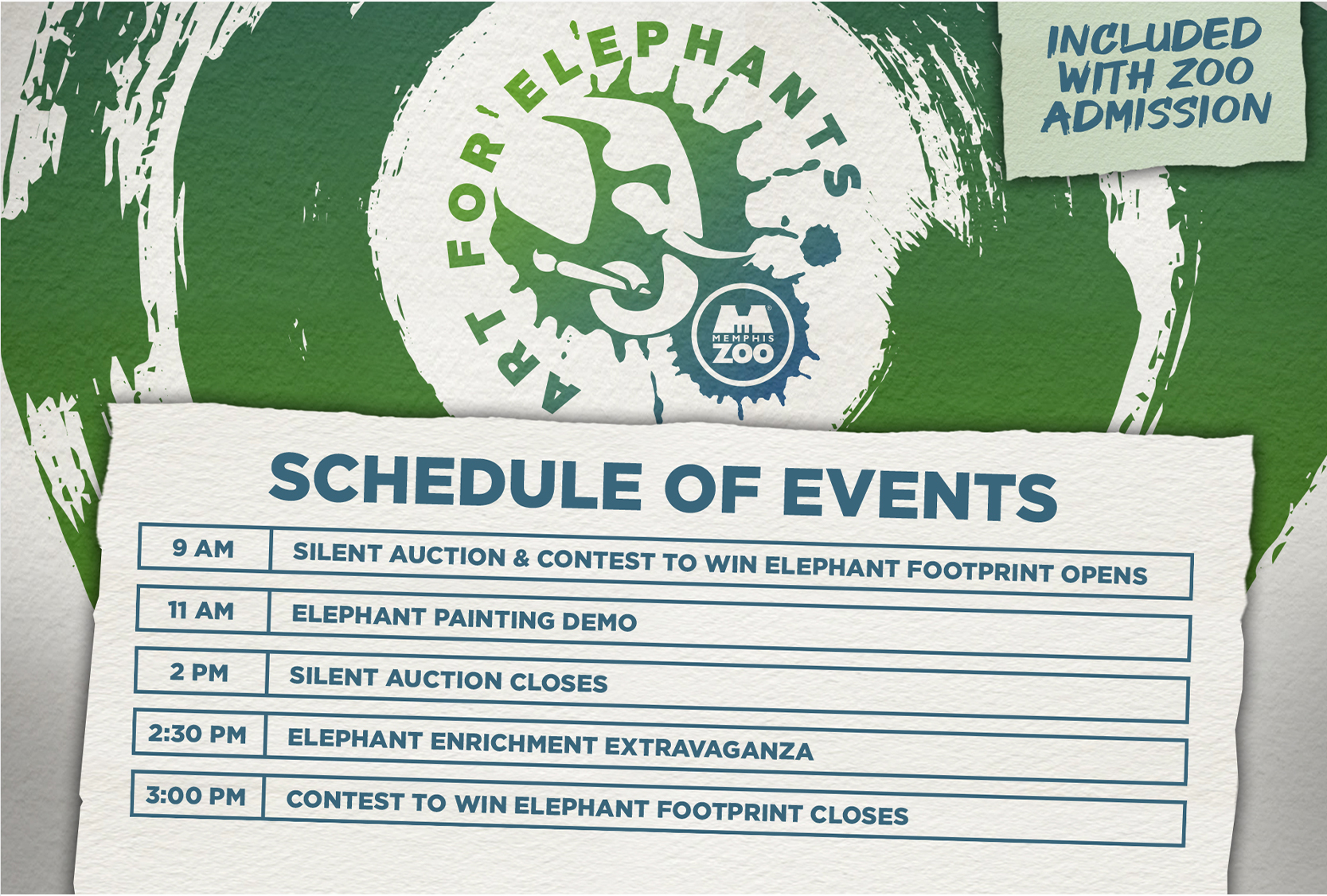 Help support elephants in the wild by attending Art for Elephants at Memphis Zoo included with Zoo admission. Proceeds from this event go to Elephants for Africa, a charity committed to protecting the endangered African elephant through research and education.