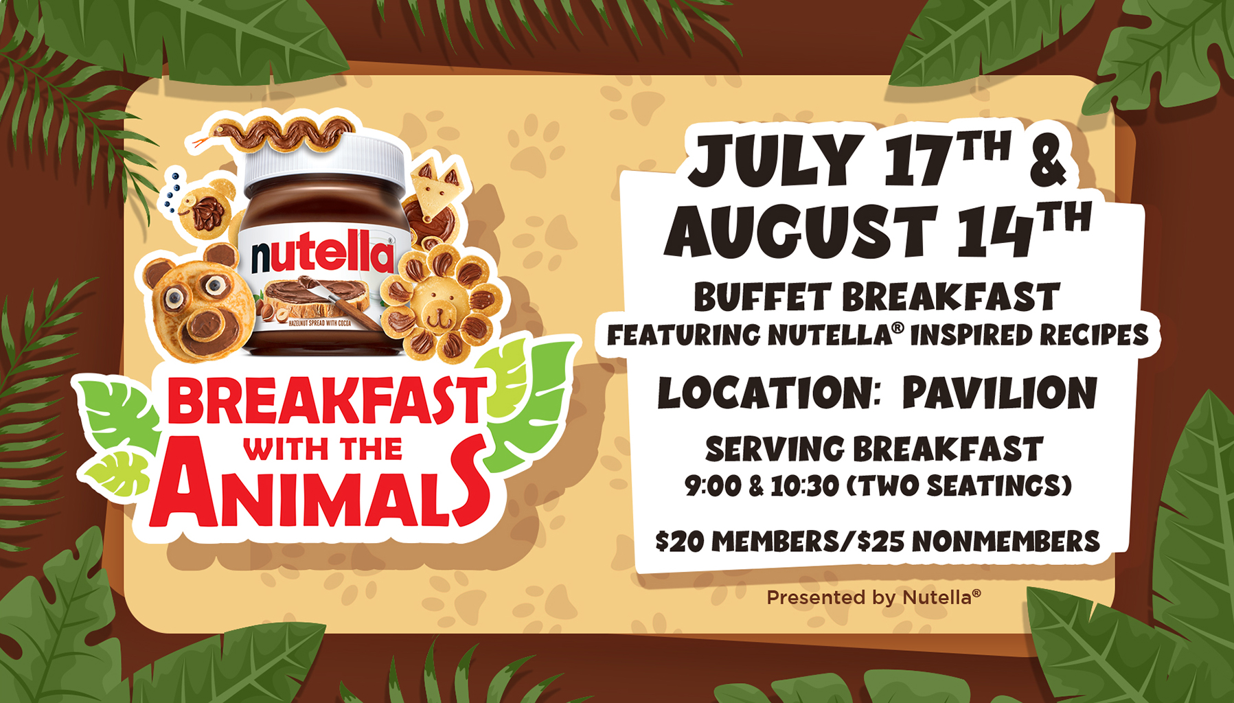 with the Animals Presented by Nutella. Check out some exciting Nutella-inspired recipes to enjoy at home! Take this fun quiz to learn more about what animals eat and enter for a chance to win a behind-the-scenes tour for four.