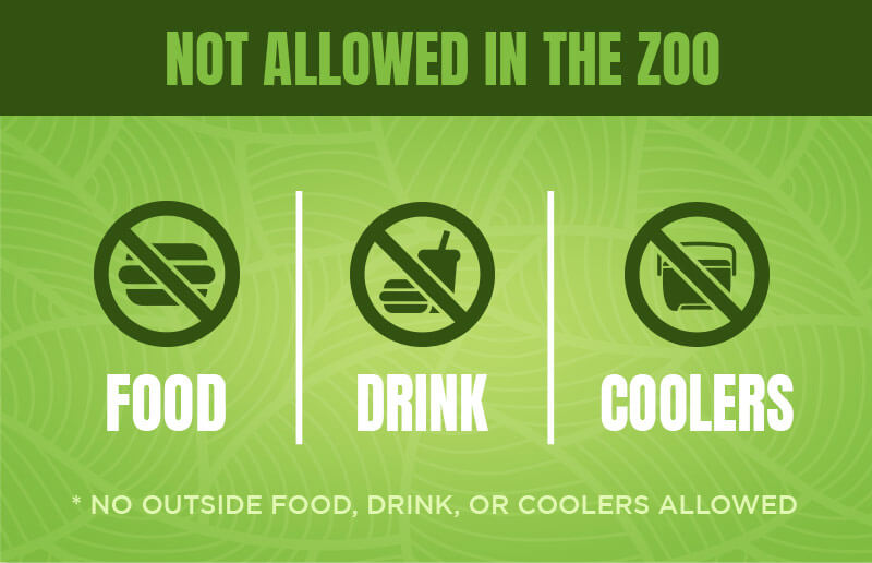 Food, drink, and coolers brought from outside the zoo are not allowed.