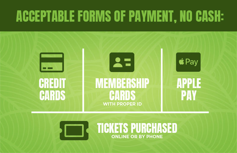 Acceptable forms of payment include major credit cards, but no cash.