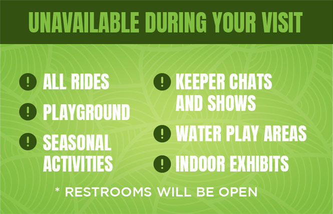 Rides, playground, seasonal activities, keeper chats/shows, water play areas, and indoor exhibits are not available.