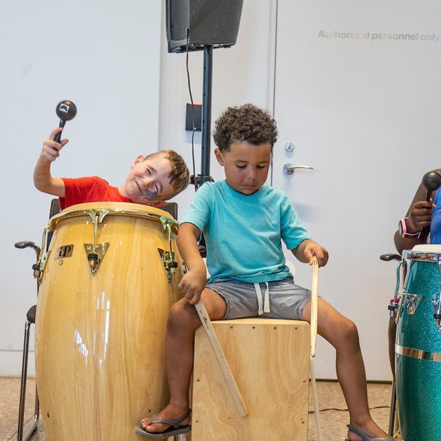 Photo of children drumming